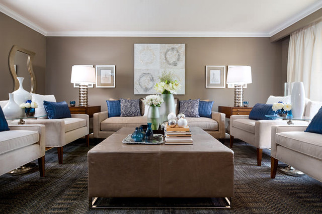 Jane Lockhart Beige & Blue Living Room - Moderno - Soggiorno ...