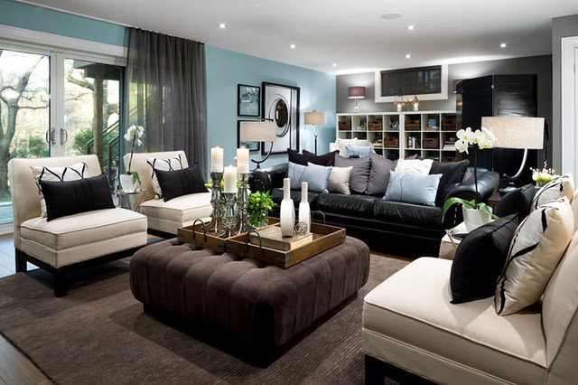 Jane Lockhart Blue Basement Living room modern-living-room