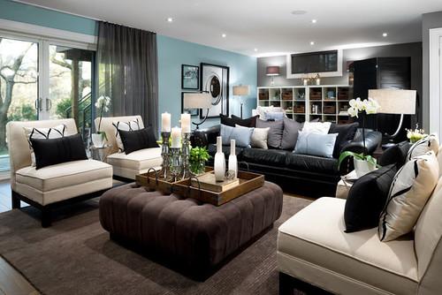 Jane Lockhart Blue Basement Living room