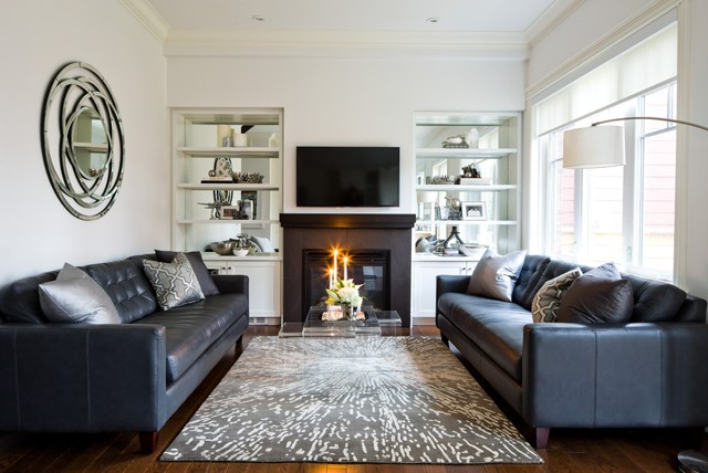 Lovely Jane Lockhart, Family Room With Leather Sofa Transitional Living Room