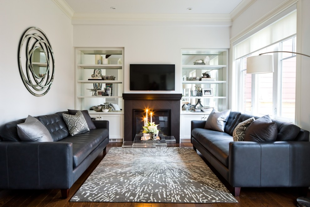 Living room - transitional living room idea in Toronto with a tile fireplace and white walls