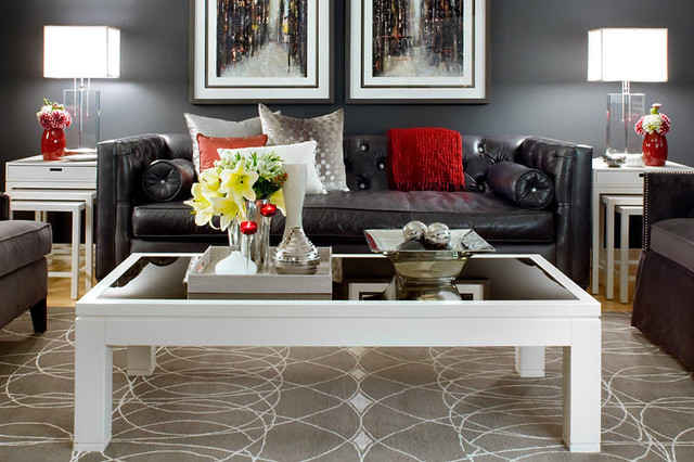 Jane lockhart gray red living room modern living room toronto by jane lockhart interior for Black red and grey living room