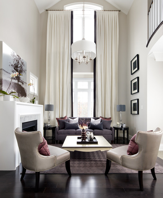 Example Of A Mid Sized Transitional Formal Living Room Design In Toronto  With Beige Walls