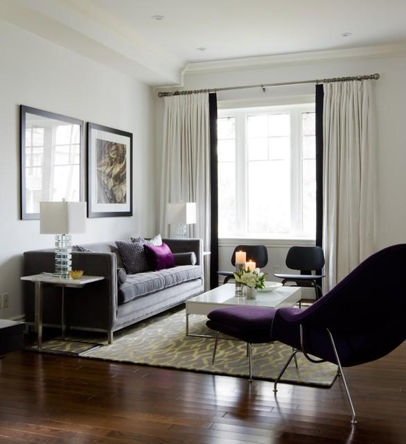 Room Reveal Purple And Grey Living Room: Jane Lockhart Living Room, Purple Accents