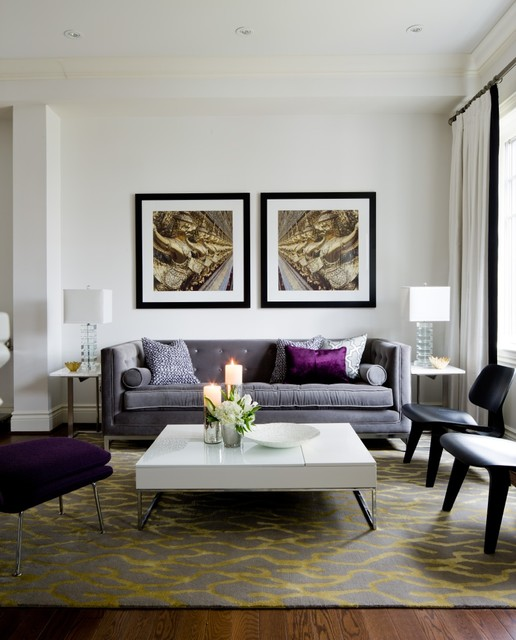 Transitional Living Room Design Ideas: Jane Lockhart Living Room, Purple Accents