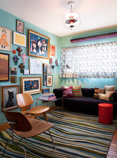 Janel Holiday Interior Design, Mid-Century Mix eclectic-living-room