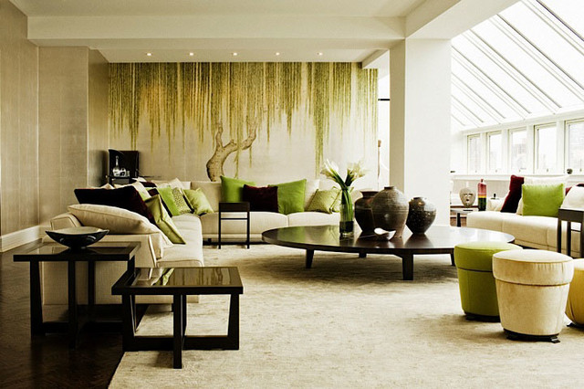 asian style living room furniture. Japanese Korean Style Hand Painted Wallpaper Asian Living Room  Asian Living Room