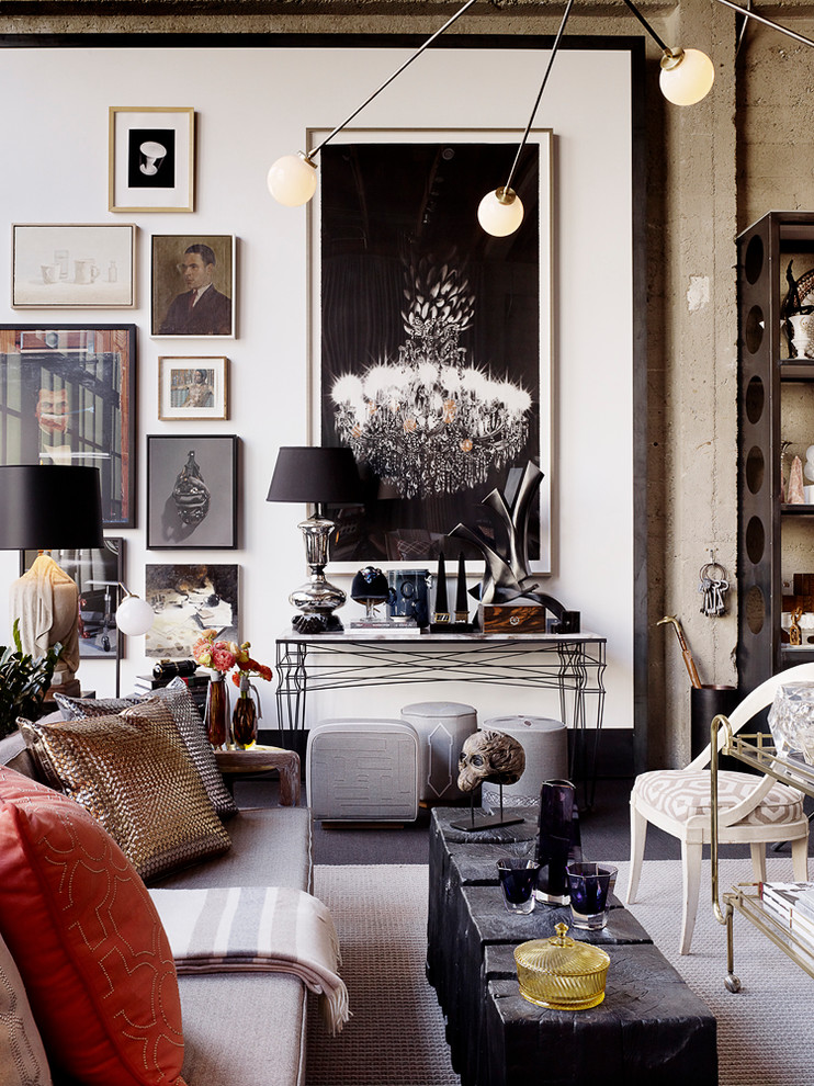 Eclectic living room photo in San Francisco with white walls