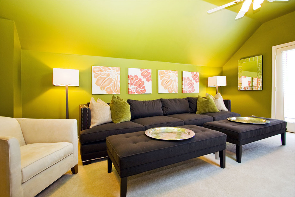 Mid-sized elegant living room photo in Other with green walls
