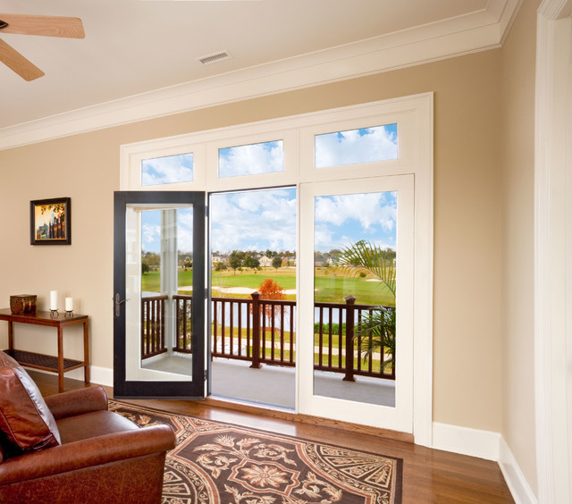 Jeld wen custom wood patio doors transitional living for Custom transom windows