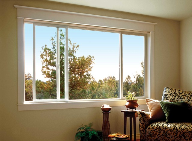 Jeld wen premium vinyl windows transitional living for Living room picture window ideas
