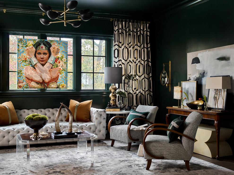 Living room - eclectic dark wood floor and brown floor living room idea in Atlanta with green walls