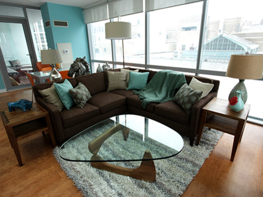 Chocolate And Turquoise Living Room