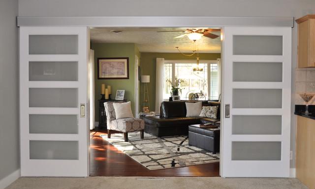 Johnson Hardware 200WM Separating Two Living Rooms (Interior Barn Door) - Contemporary - Living ...