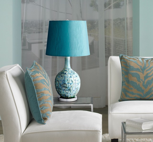 Jordan Teal Ceramic Table Lamp Contemporary Living Room New York By W