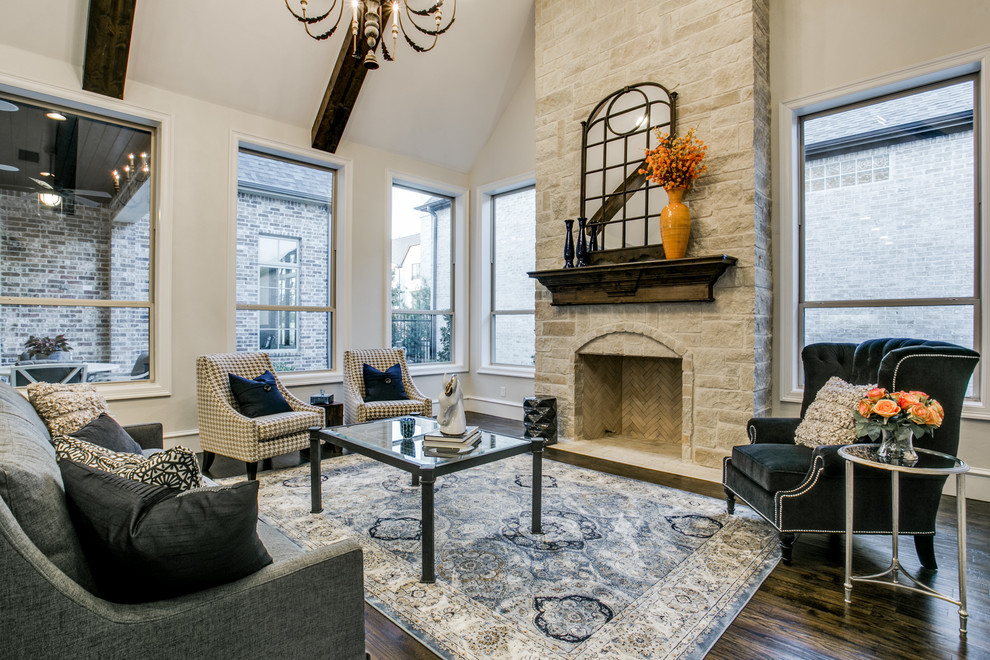 Living room - transitional formal and open concept dark wood floor living room idea in Dallas with a standard fireplace, a stone fireplace and no tv