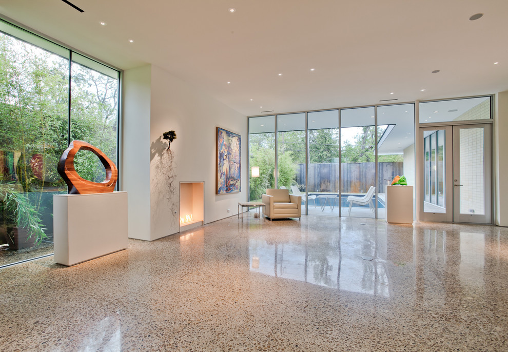 Inspiration for a modern living room remodel in Dallas with white walls
