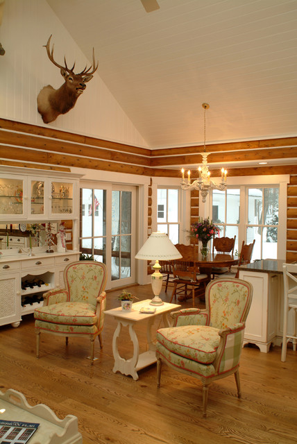 Ordinaire Cottage Chic Open Concept Medium Tone Wood Floor Living Room Photo In Grand  Rapids