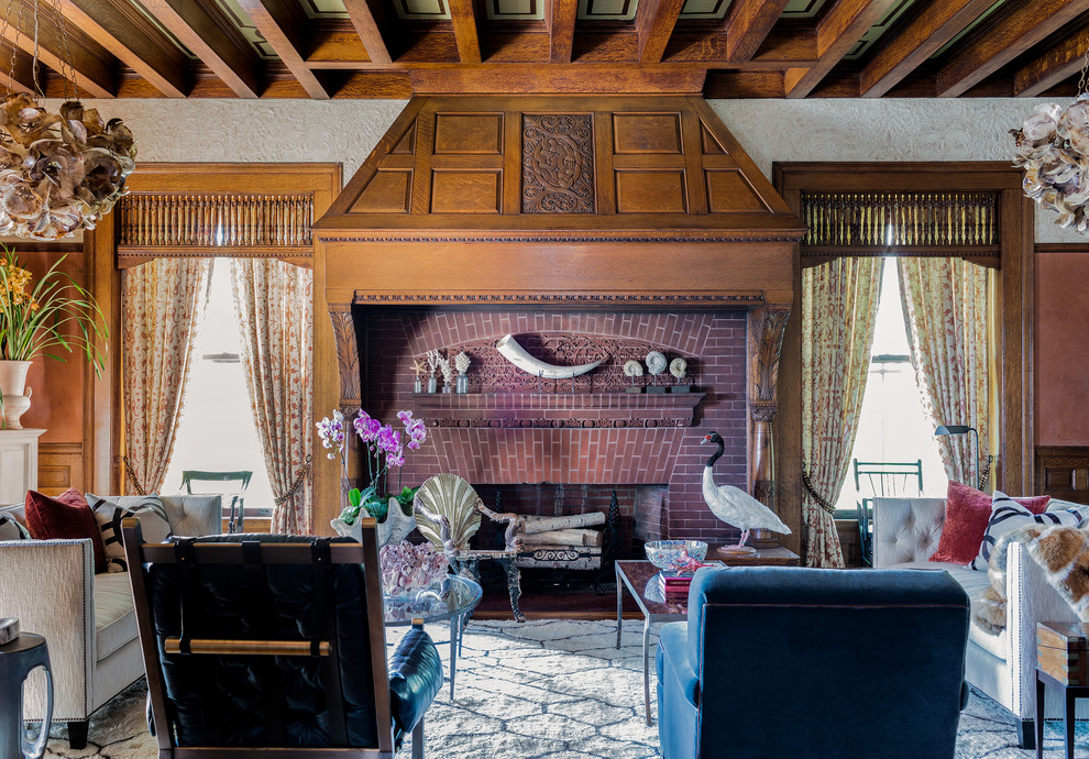 Example of an eclectic formal living room design in Boston with a standard fireplace and a brick fireplace
