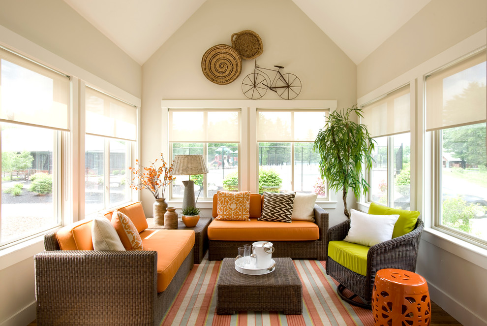 Inspiration for a small coastal enclosed living room remodel in Boston with beige walls