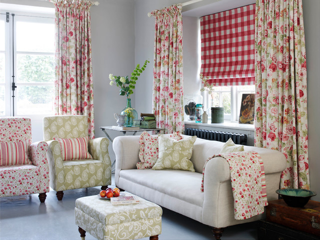 Just fabrics country florals living room traditional living room