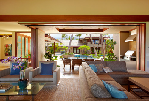 Peter vincent architects design luxury homes in kailua for Tropical living room ideas pictures
