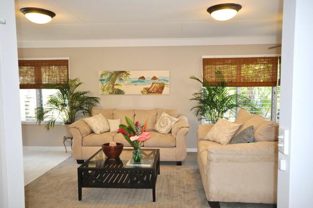 Kailua Beach House Staging tropical-living-room