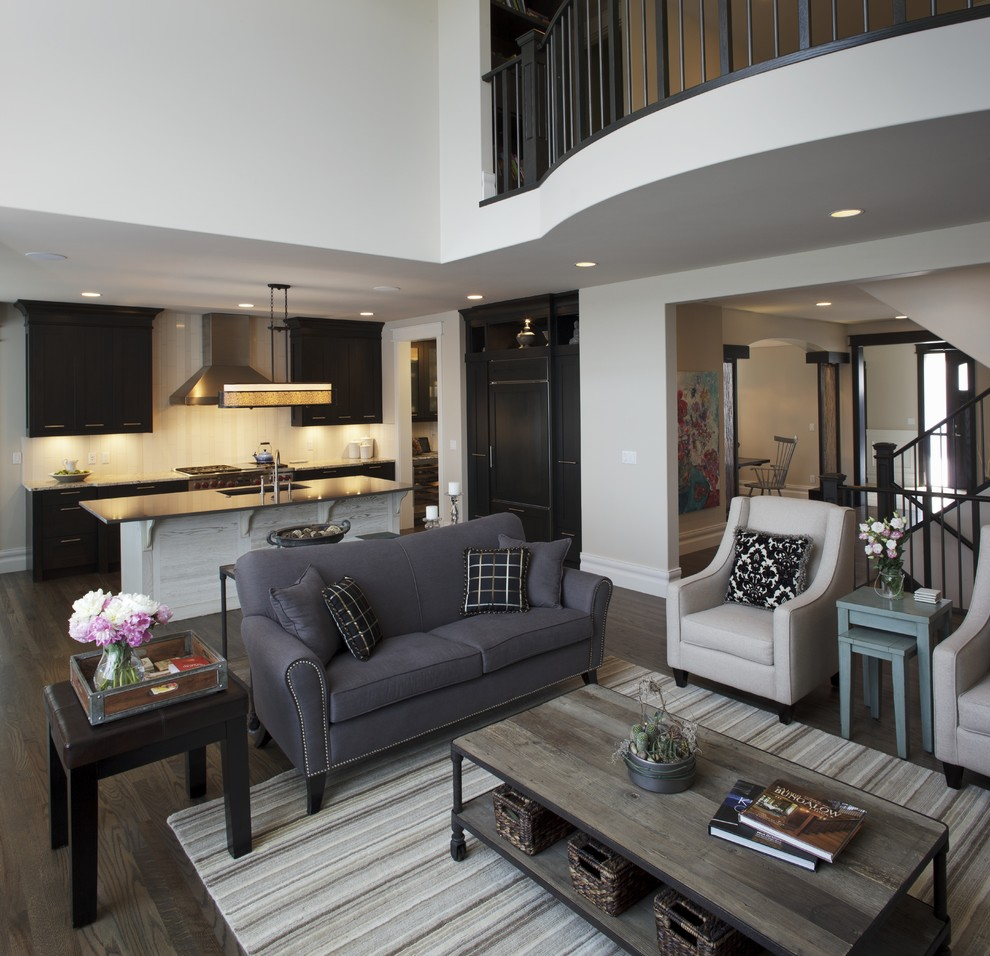 Living room - transitional open concept living room idea in Calgary
