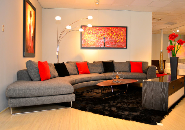 K d showroom samantha sectional contemporary living for Showroom living room ideas
