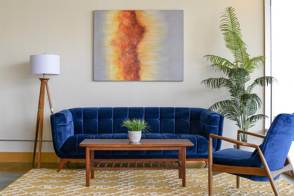 Kano Blue Velvet Sofa Midcentury Living Room Houston By Ashcroft Imports Furniture Co