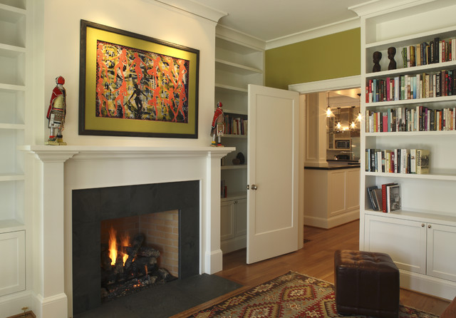 granite for fireplace surround. Trendy living room photo in Portland with green walls Black Granite Fireplace Surround  Houzz