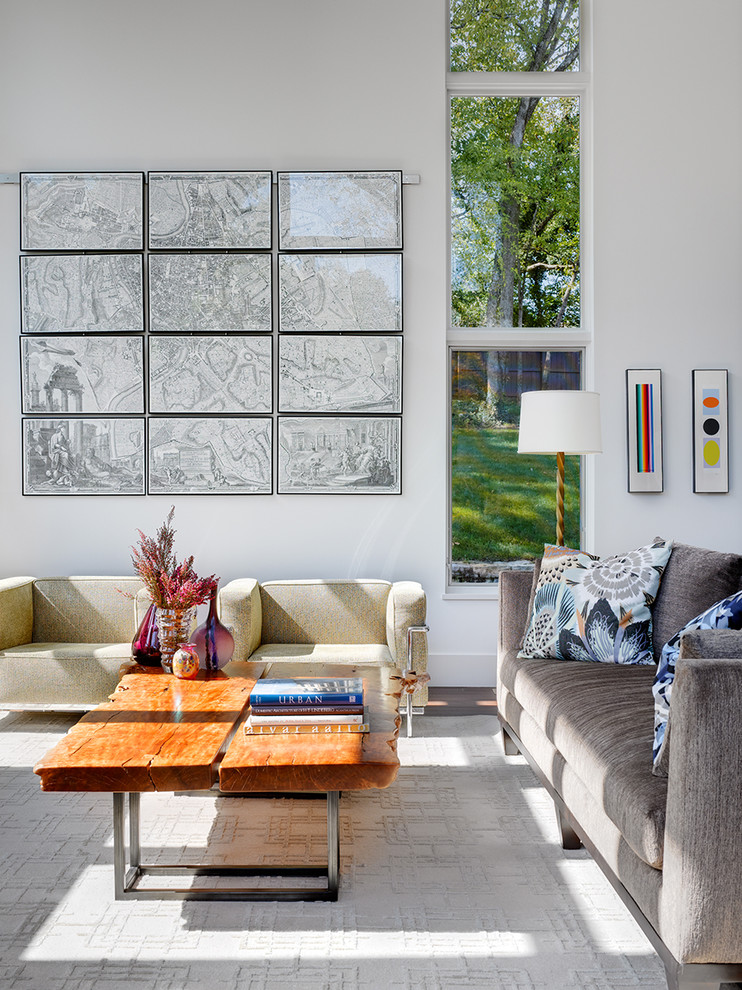 Inspiration for a contemporary living room remodel in Dallas with white walls