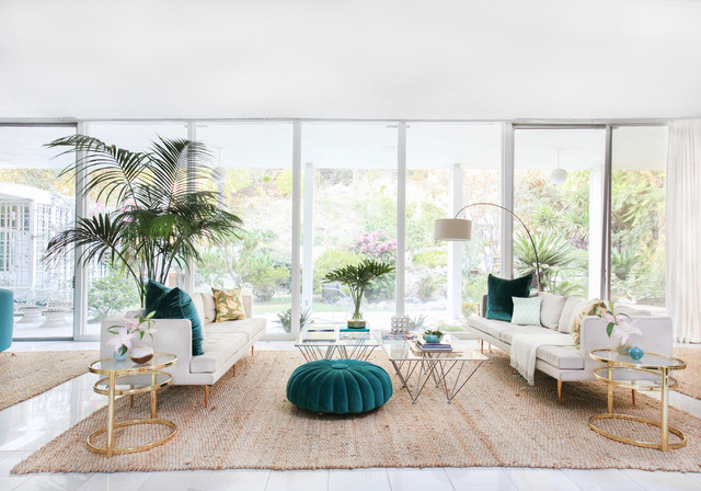 Kelly Oxfordu0027s Kitschy Mid Century Redesign In LA Beach Style Living Room