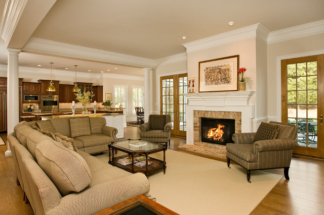 Kelso traditional living room richmond by rinehart for Decorating ideas for open concept living room and kitchen