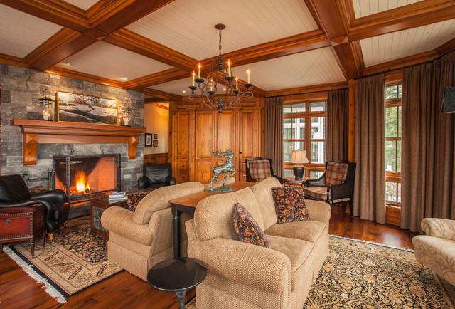 Kenesis lake house traditional living room toronto for Lake house living room ideas