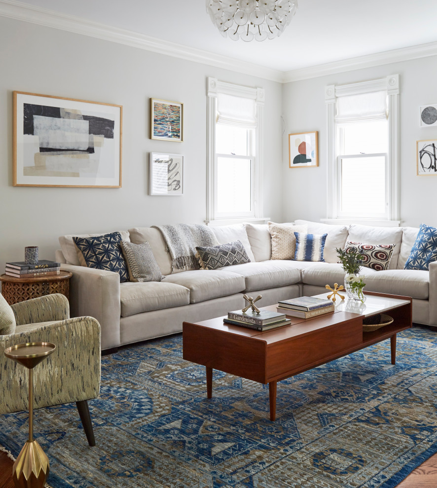 Living room - transitional medium tone wood floor and brown floor living room idea in Chicago with gray walls