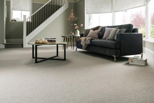 Kensington Banquo Grey Carpet And Wessex Silver Roller Blinds Living Room