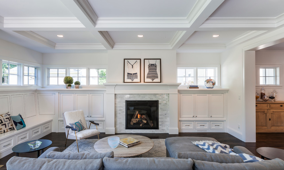 Example of a classic living room design in Minneapolis with a standard fireplace, a tile fireplace and no tv