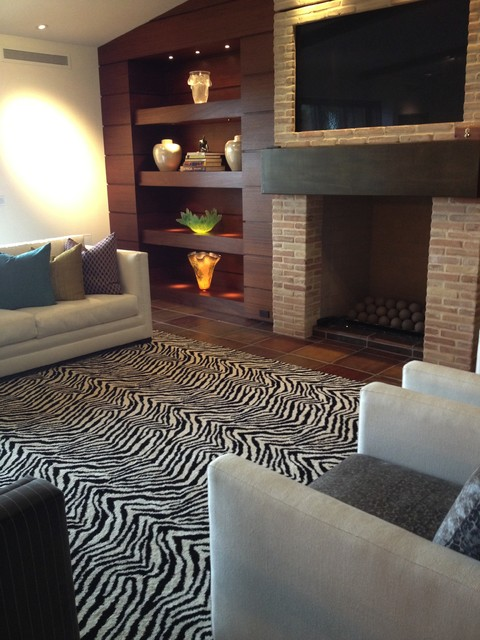 Kenya zebra area rug contemporary living room orange - Living room area rugs contemporary ...