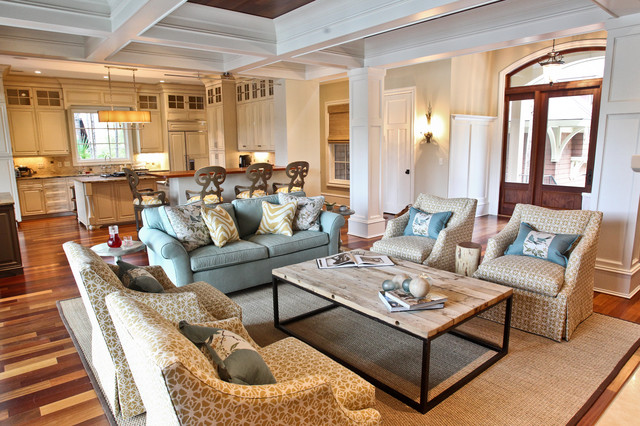 Kiawah Family Home Beach Style Living Room