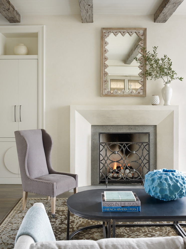 Living room - coastal formal living room idea in Atlanta with a standard fireplace and white walls