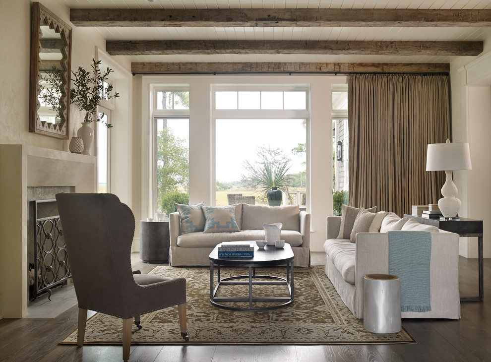 Beach style formal and enclosed dark wood floor living room photo in Atlanta with a standard fireplace and white walls