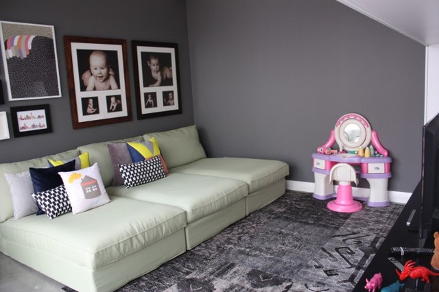 Kids playroom with ikea kivik chaise lounges modern