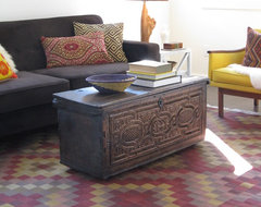 Kilim Rug and Handmade Driftwood Lamp eclectic living room