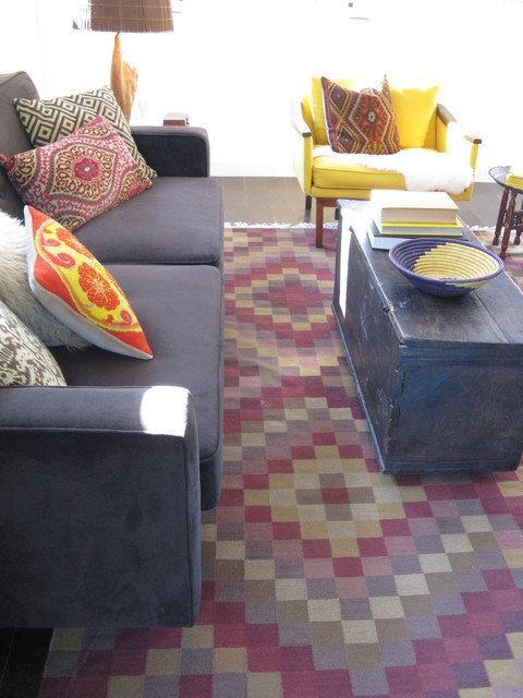 Kilim Rug in Mid Century Modern Room eclectic-living-room