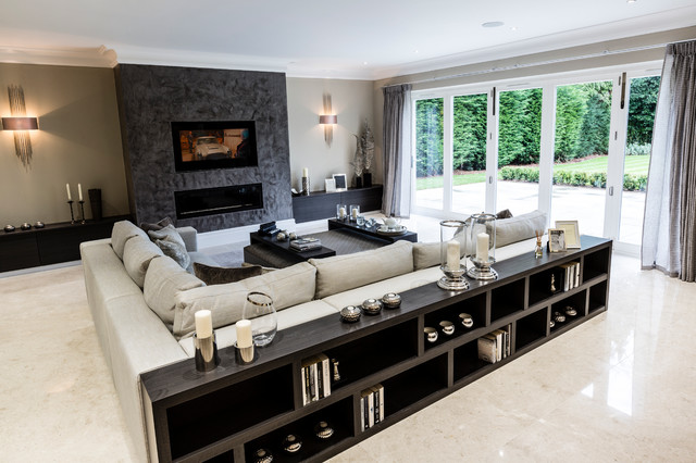 Example Of A Trendy Living Room Design In Surrey