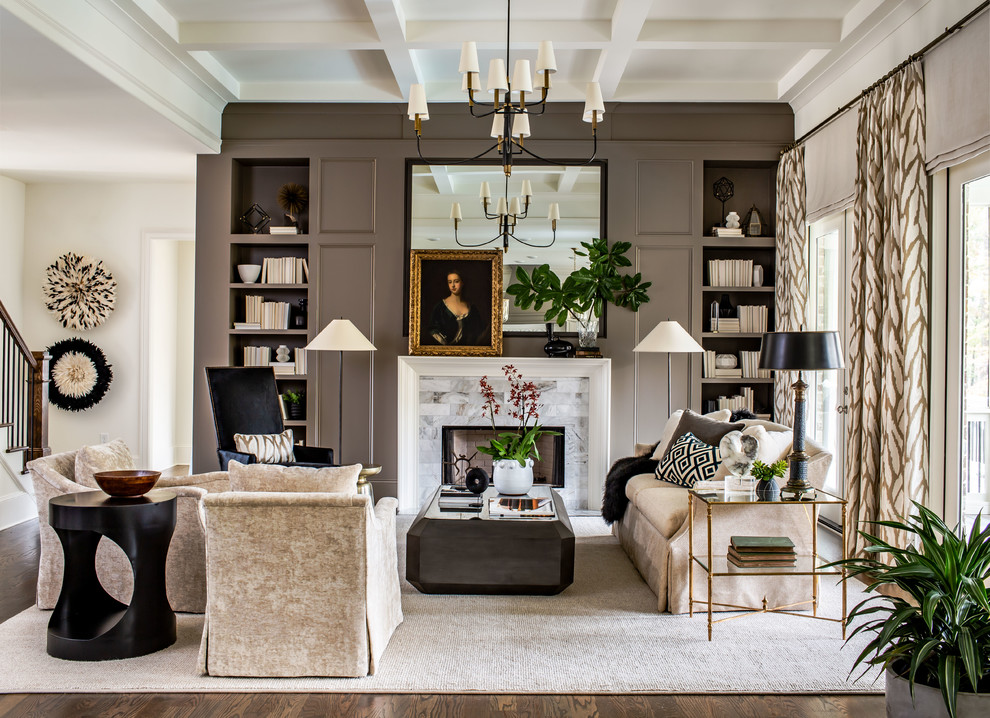 Living room - transitional medium tone wood floor and brown floor living room idea in Atlanta with brown walls, a standard fireplace and a tile fireplace