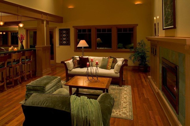 Kirkland craftsman traditional living room seattle for Kirkland living room ideas