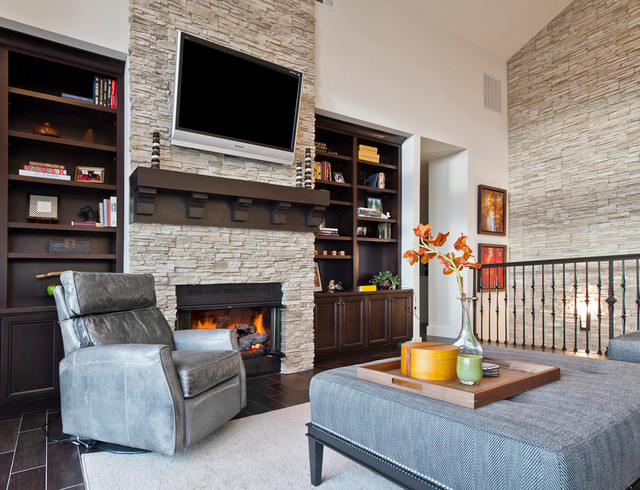 Kirkland Custom Living Room With Fireplace U0026 Stone Accent Wall  Transitional Living Room