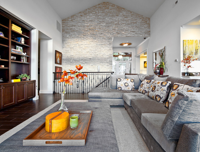 Kirkland Custom Living Room With Stone Accent Wall